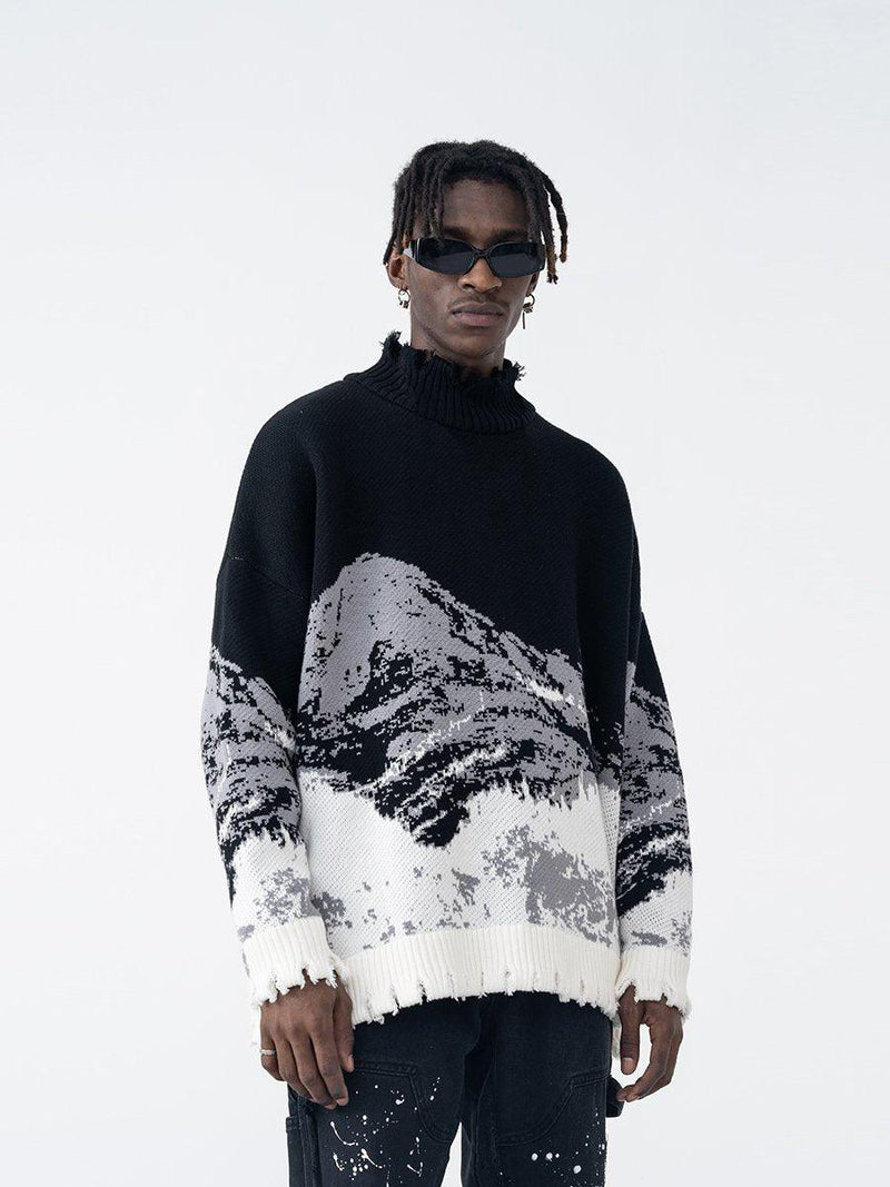 H/C Mountain Negative Knit Turtleneck
