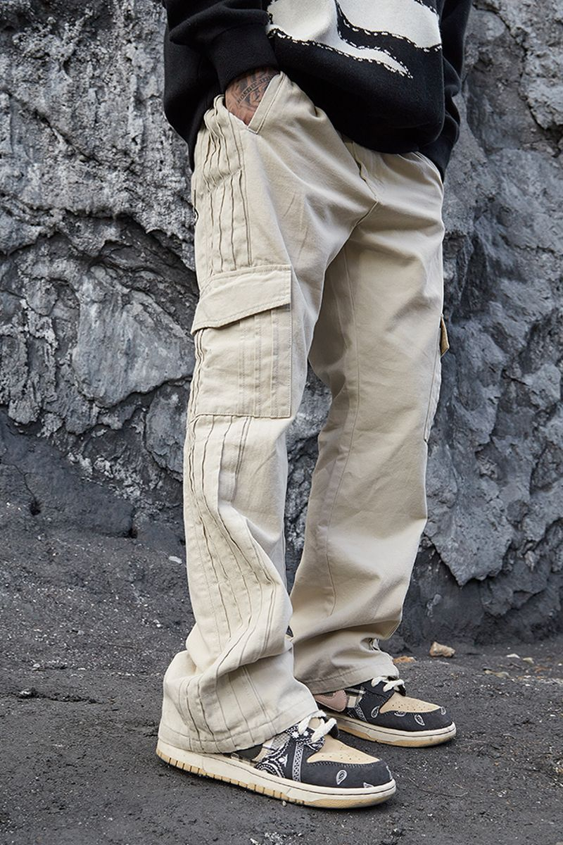 STEEPC Off White Pleated Trousers