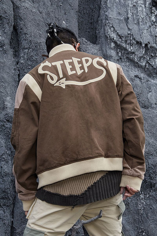 STEEPC Embroidered Logo Leather MA1 Jacket
