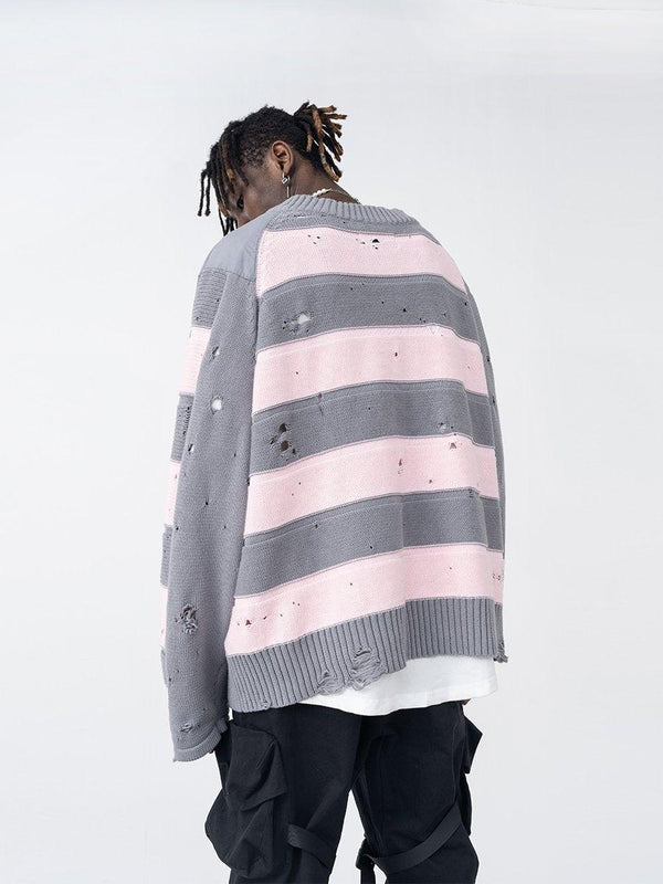 H/C Striped Ripped Sweater