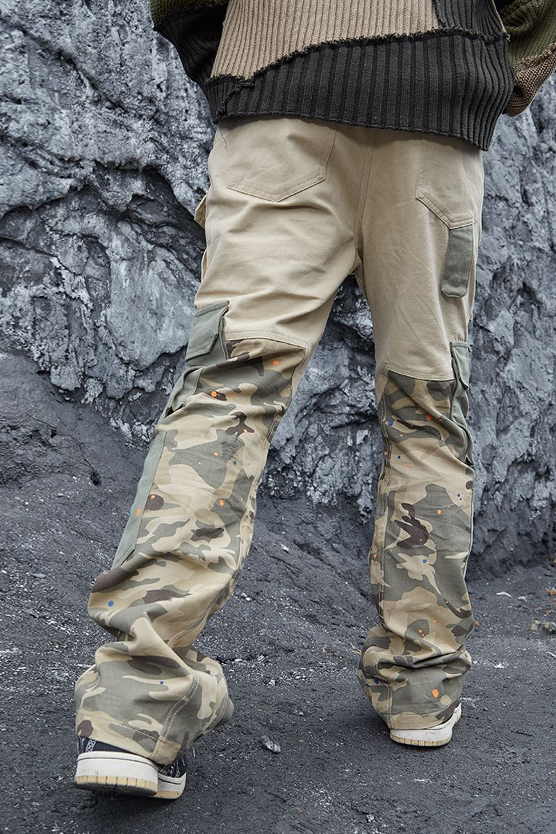 STEEPC Camo Flared Cargo Trousers