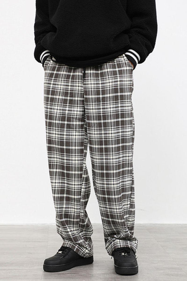 CZ Plaid Loose Straight Trousers