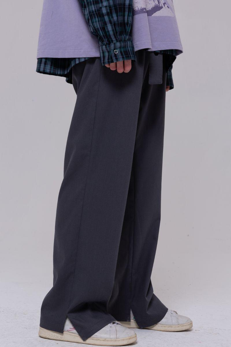 BLIND Dark Gray Retro Asymmetric Straight Trousers