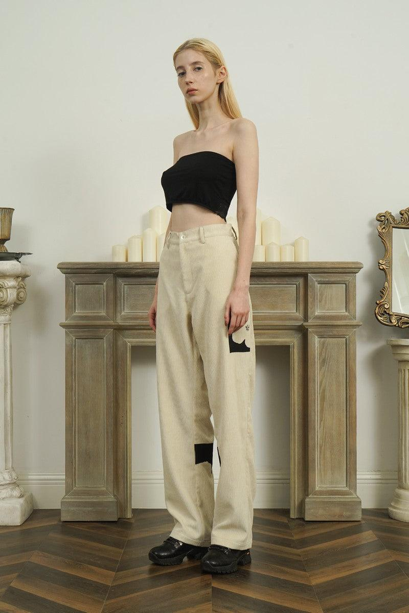 Empty Reference Flower Corduroy Straight Trousers