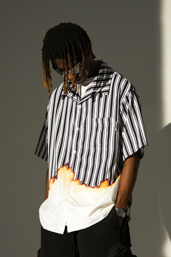 Empty Reference Burning Striped Cuban Shirt