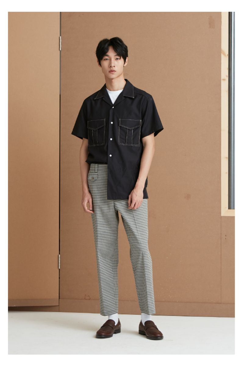 Mix7 Houndstooth Plaid Trousers