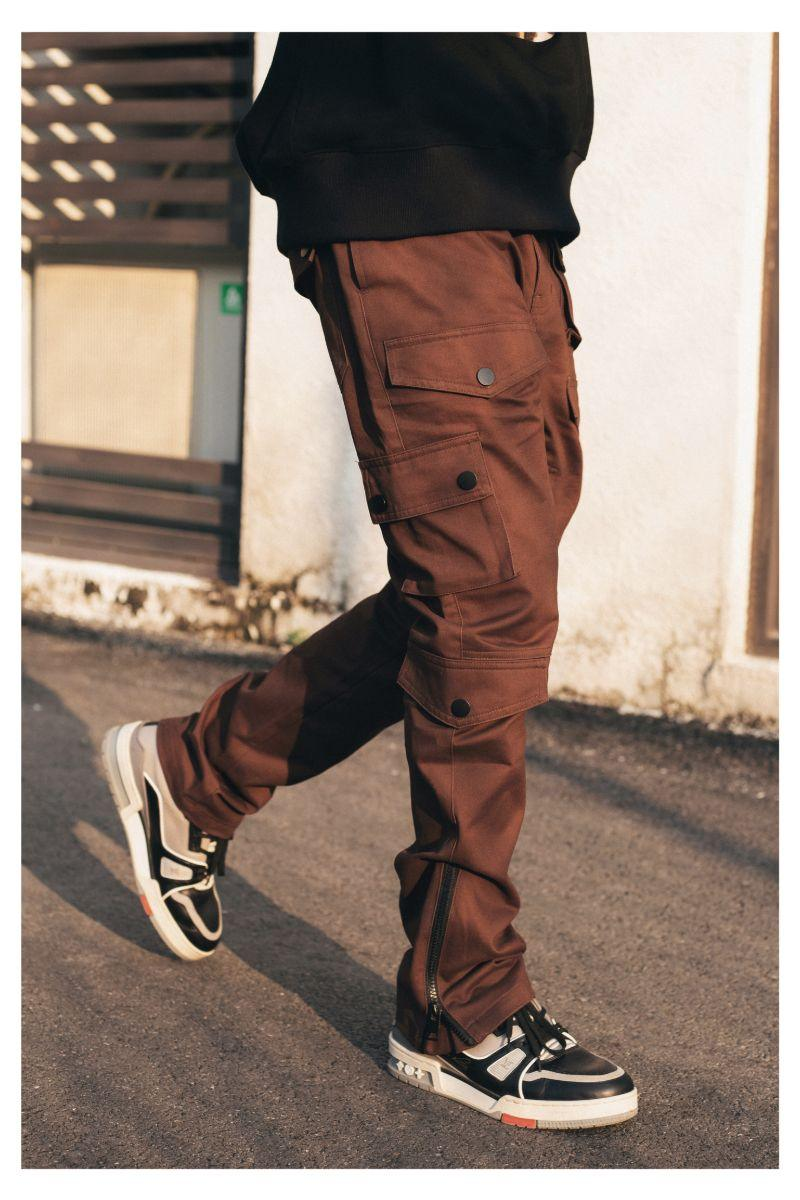 Antidote Brown Multi Pocket Adjustable Trousers
