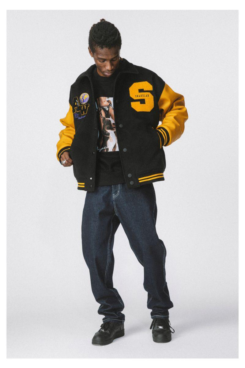 Antidote Yellow Woolen Embroidered Varsity Jacket