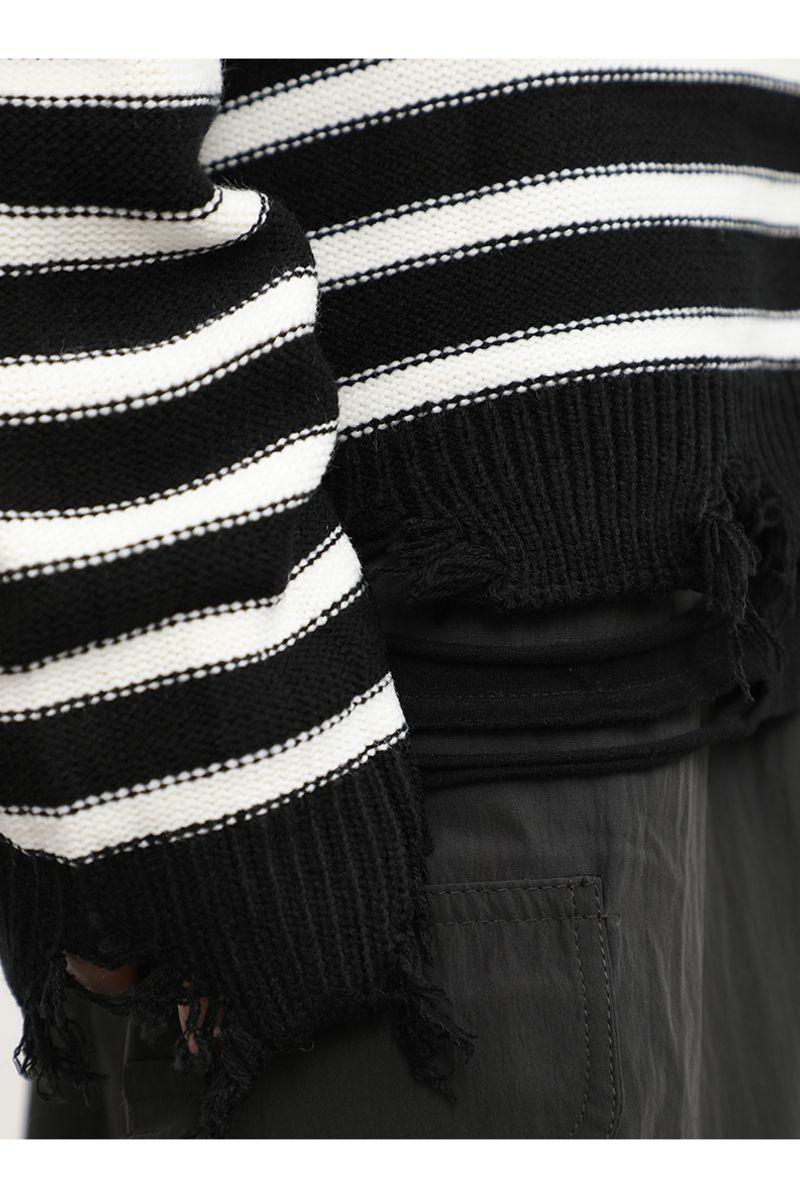CZ Striped Ripped Sweater