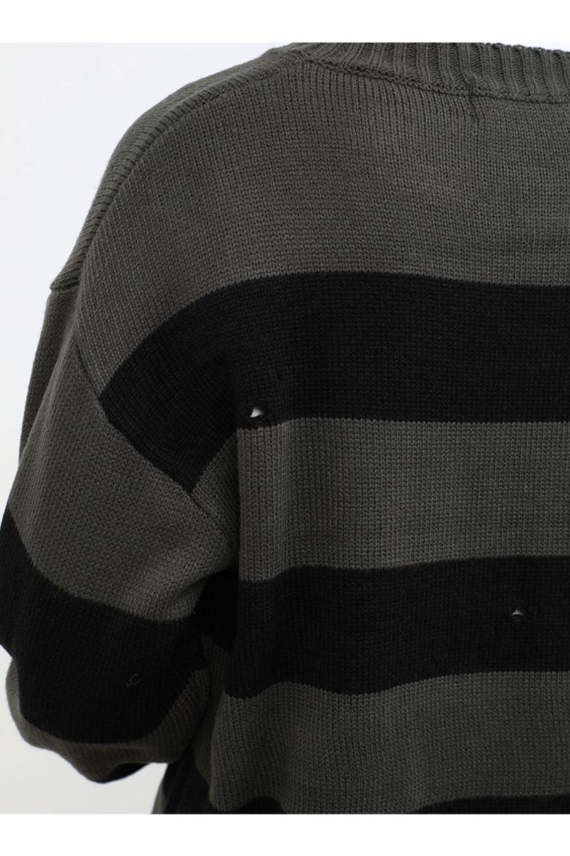 CZ Striped Distressed Sweater