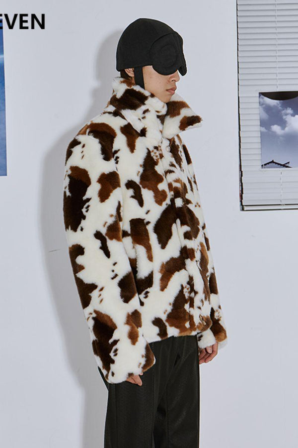 Mix7 Cow Pattern Sherpa Coat