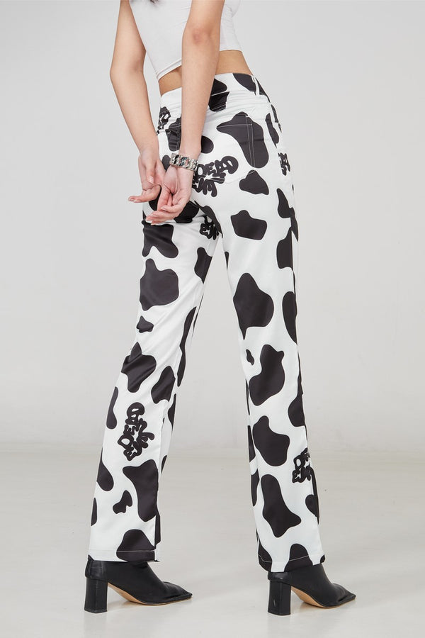 STEEPC Cow Pattern Flared Trousers