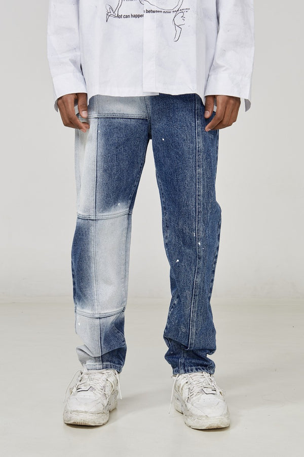 STEEPC Splash Ink Stitched Checkered Denim