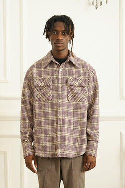 Empty Reference Plaid Woolen Shirt Jacket