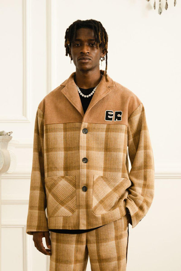 Empty Reference Khaki Plaid Corduroy Suit Jacket