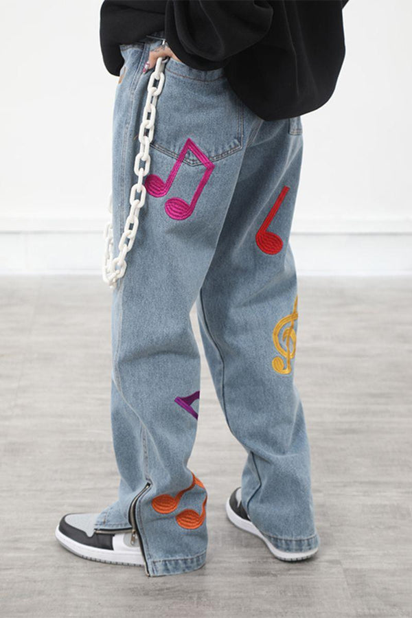 CZ Embroidered Musical Notes Denim