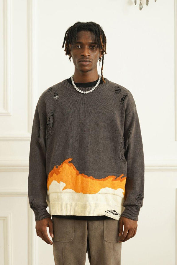 Empty Reference Flame Ripped Sweater