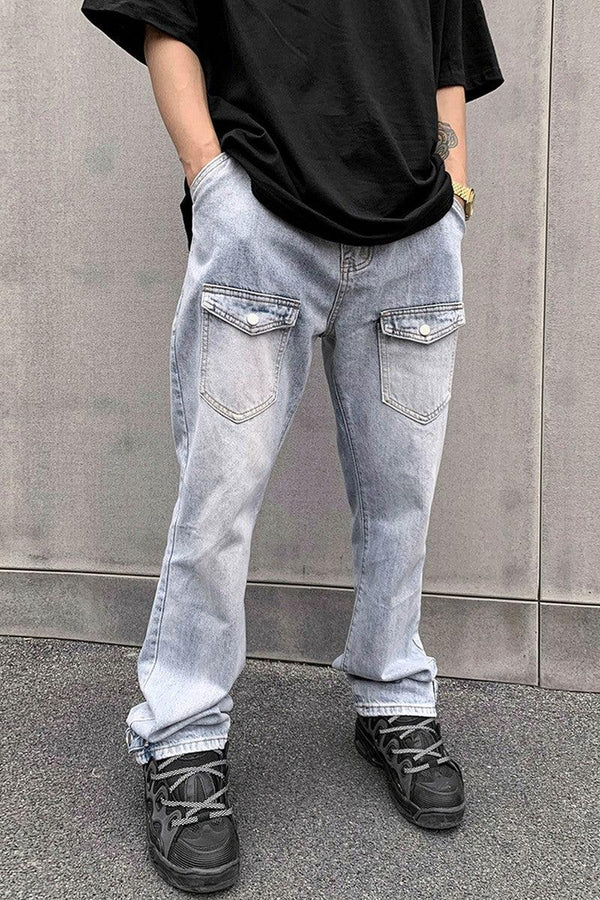 CZ Washed Front Pockets Flared Denim