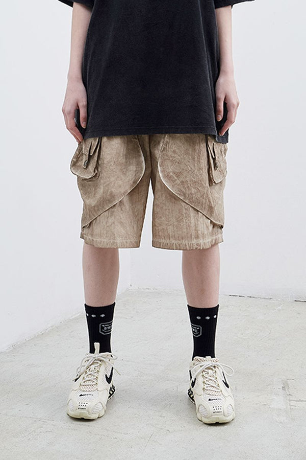 STEEPC Heavy-Washed Loose Shorts