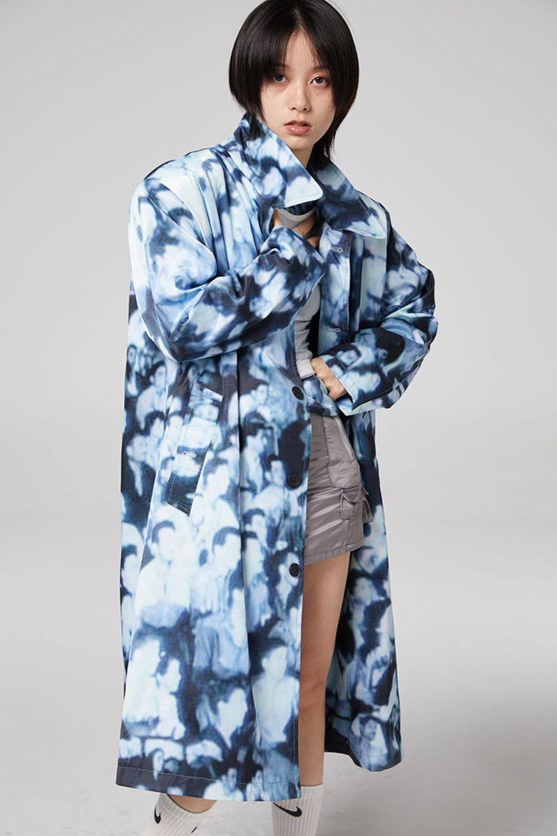 CZ Faces Printed Coat