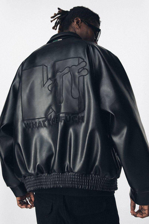 Antidote WTF Logo PU Leather Jacket