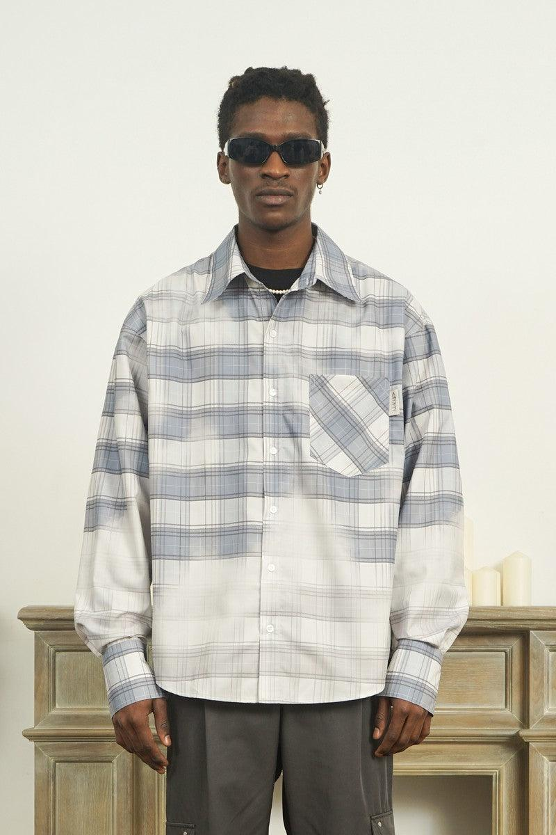 Empty Reference Faded Checkered Long Sleeve Shirt