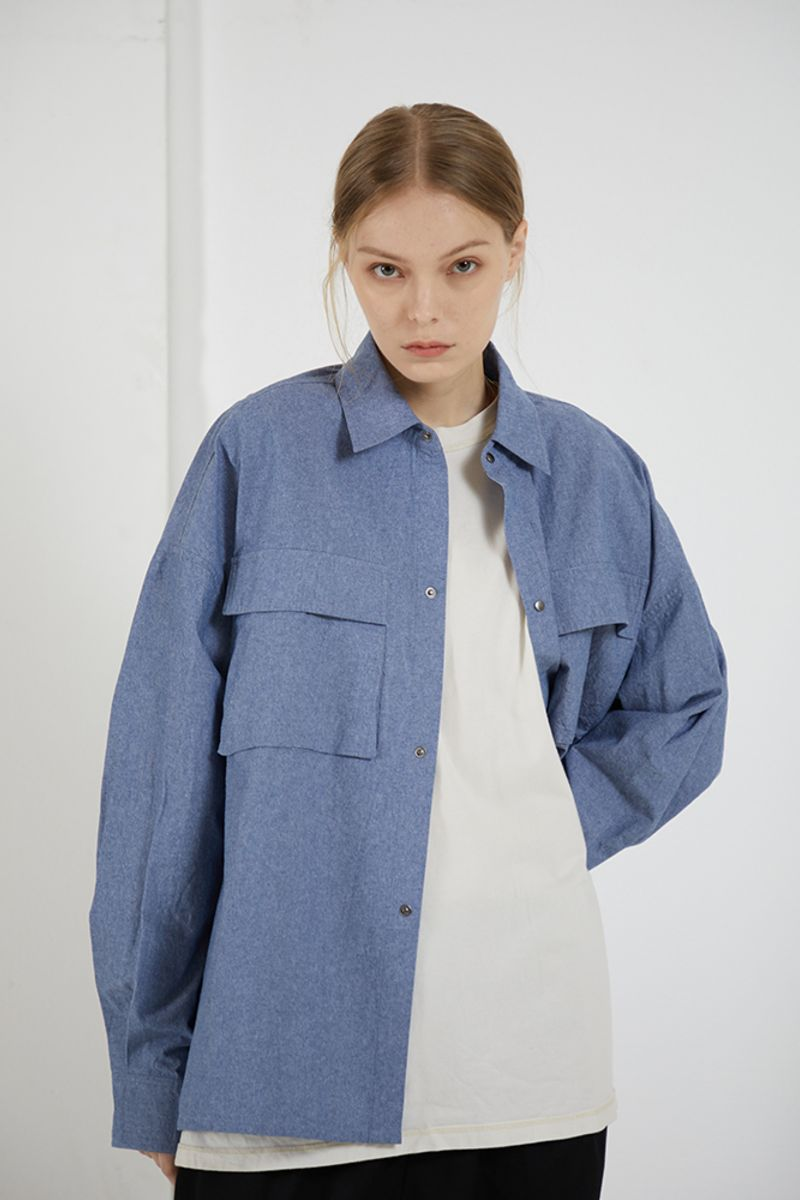 THINGY Blue Loose L/S Shirt
