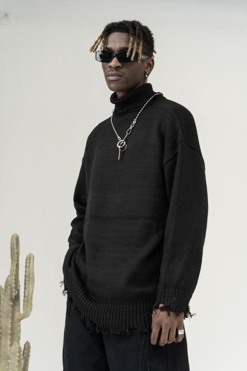 CZ Ripped Knit Turtleneck
