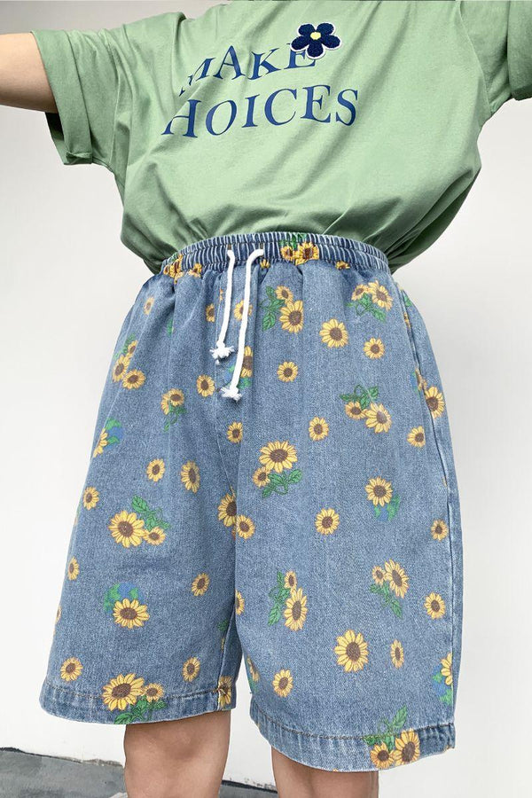 CZ Sunflower Printed Denim Shorts
