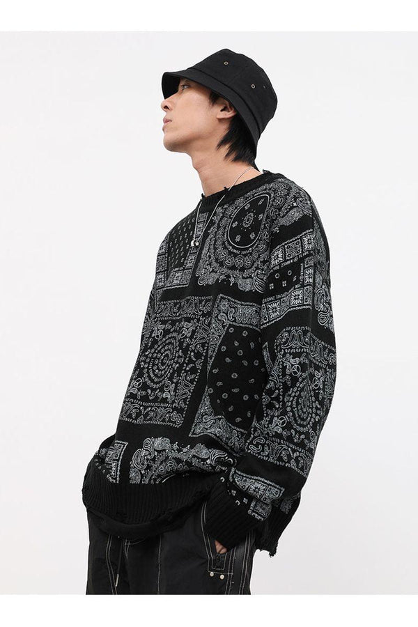 CZ Bandana Ripped Sweater