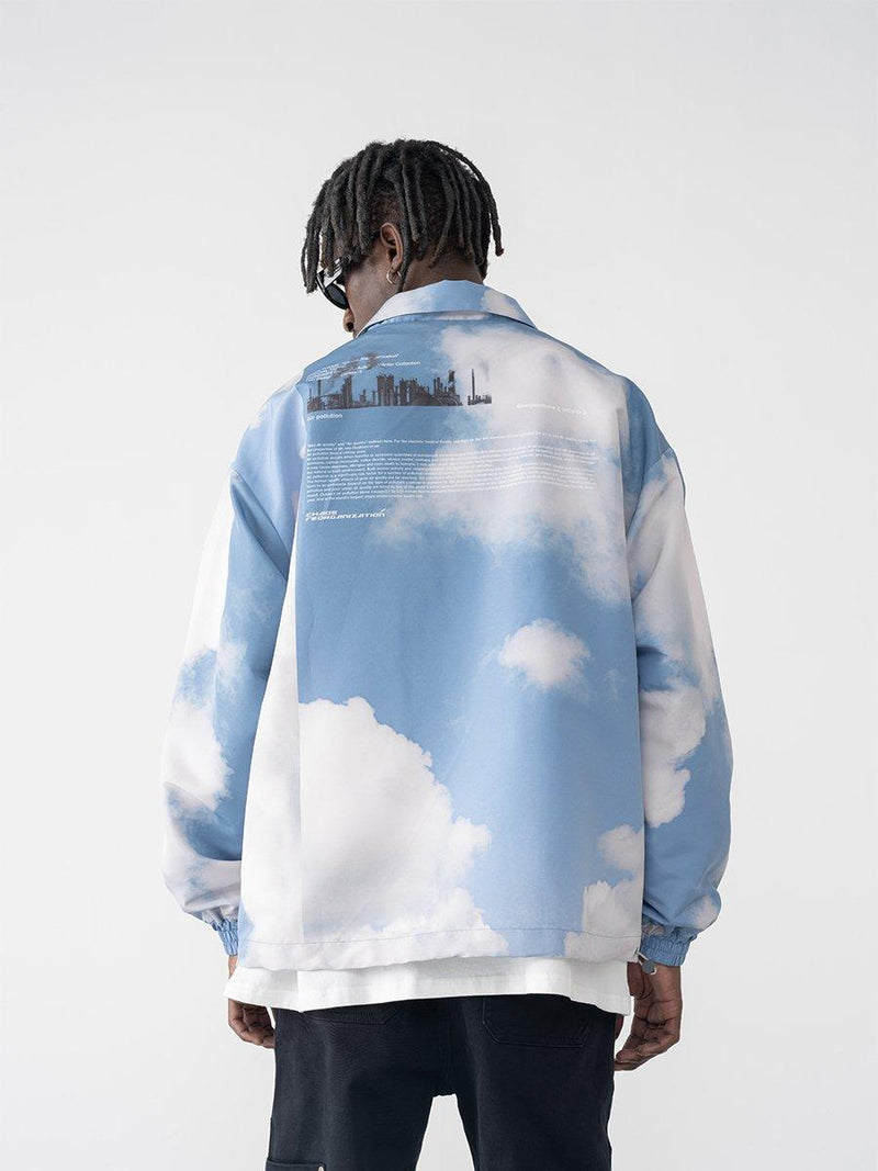 H/C Clouds Printed Coach Jacket
