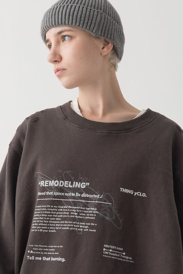 THINGY Distressed Remodeling Sweater
