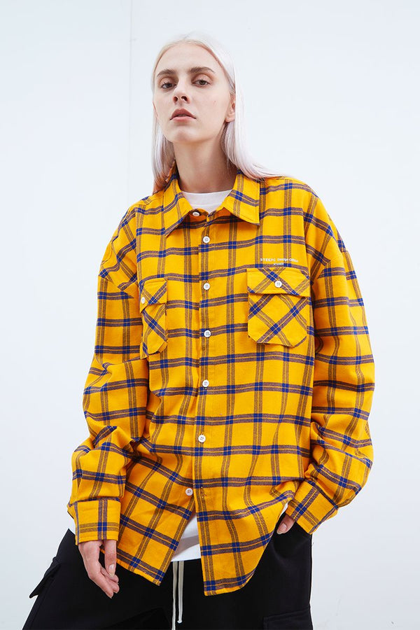STEEPC Checkered Printed Logo L/S Shirt