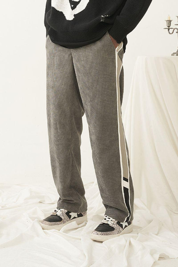 Empty Reference Gray Corduroy Stitched Trousers