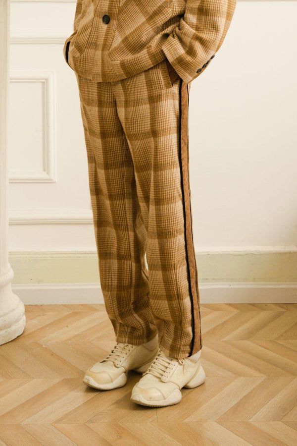 Empty Reference Khaki Plaid Straight Trousers