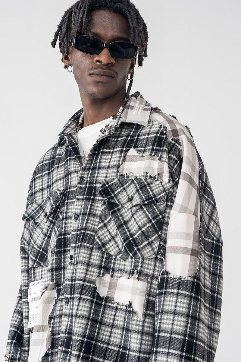 H/C Deconstructed Plaid Flannel Shirt
