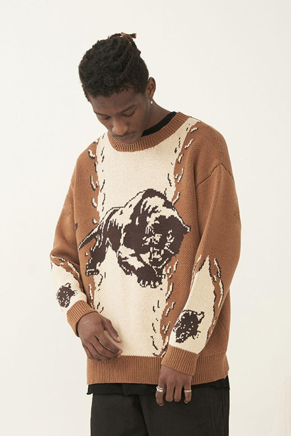 Empty Reference Panther Stitched Knit Sweater