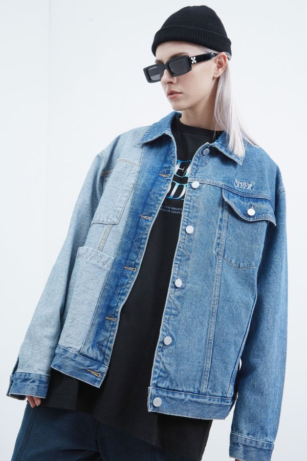 STEEPC Stitched Logo Denim Jacket