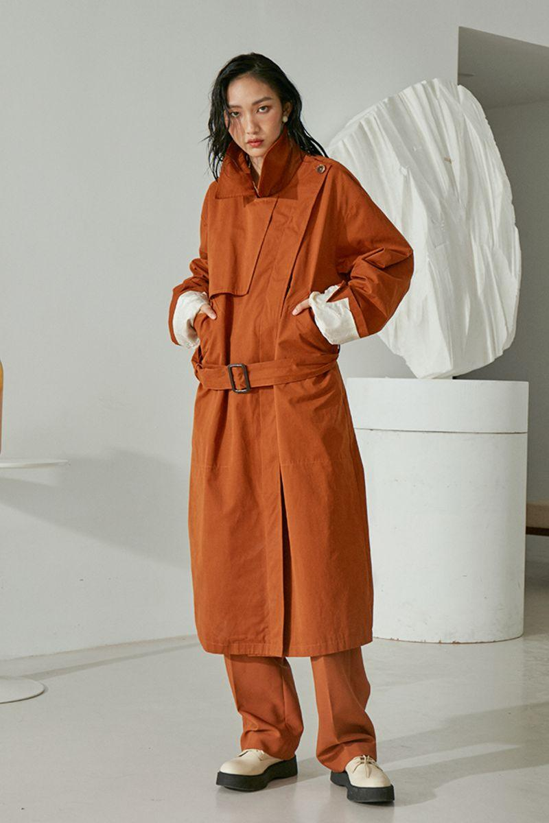 Mix7 Camel Orange Belted Trench Coat