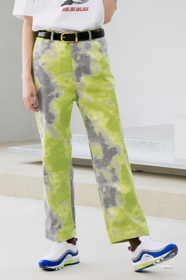 Mix7 Green Tie Dyed Trousers