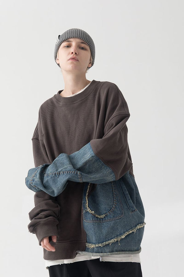 THINGY Stitched Denim Washed Sweater