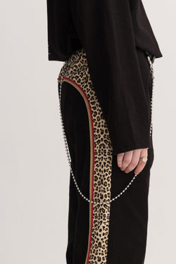 Empty Reference Leopard Pattern Straight Trousers
