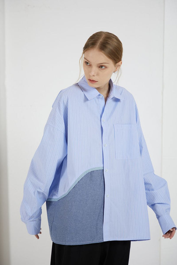 THINGY Blue Striped Stitched LS Shirt