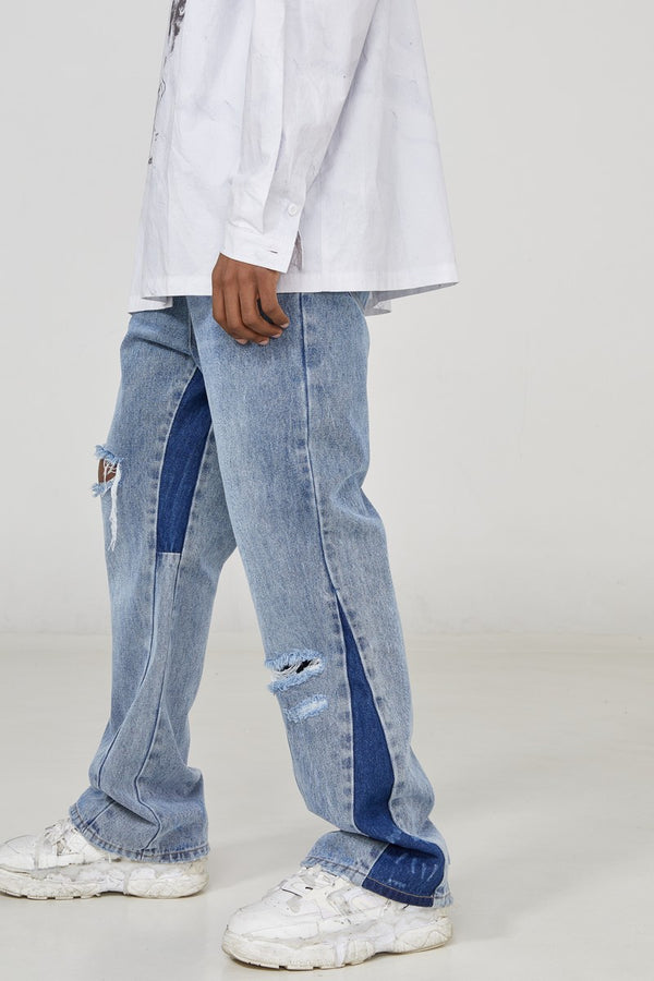 STEEPC Splash Ink Distressed Flared Denim