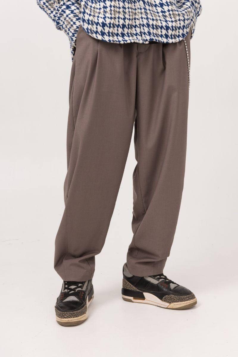 Empty Reference Coffee Loose Suit Trousers