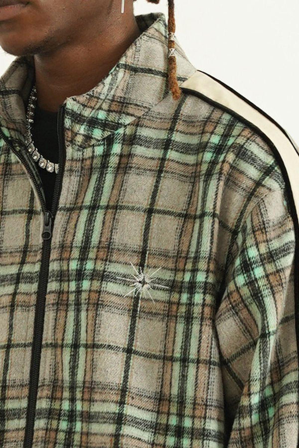 Empty Reference Plaid Woolen Retro Jacket