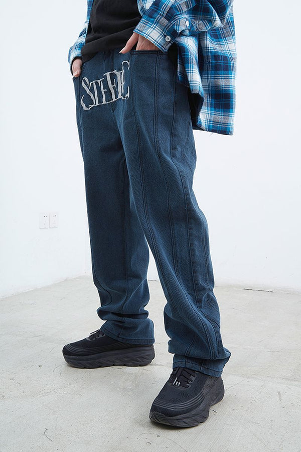 STEEPC Embroidered Logo Straight Denim