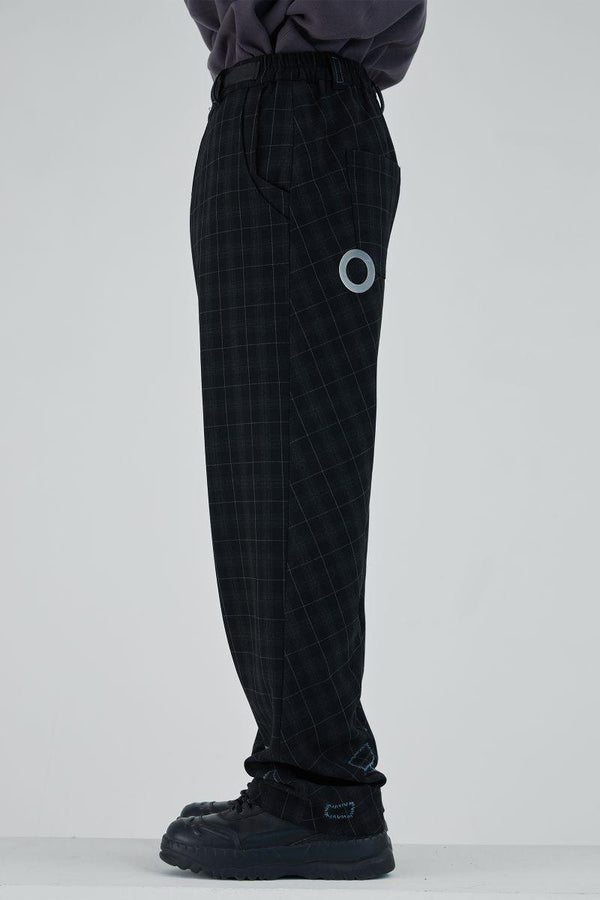 BLIND Retro Plaid Patched Straight Trousers