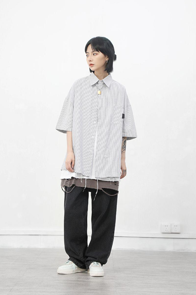 CZ Ripped Striped Button Up Shirt