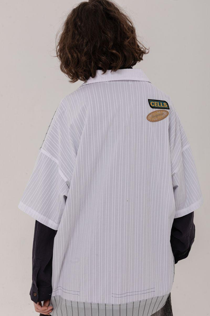 BLIND Striped Stitched Cuban Shirt